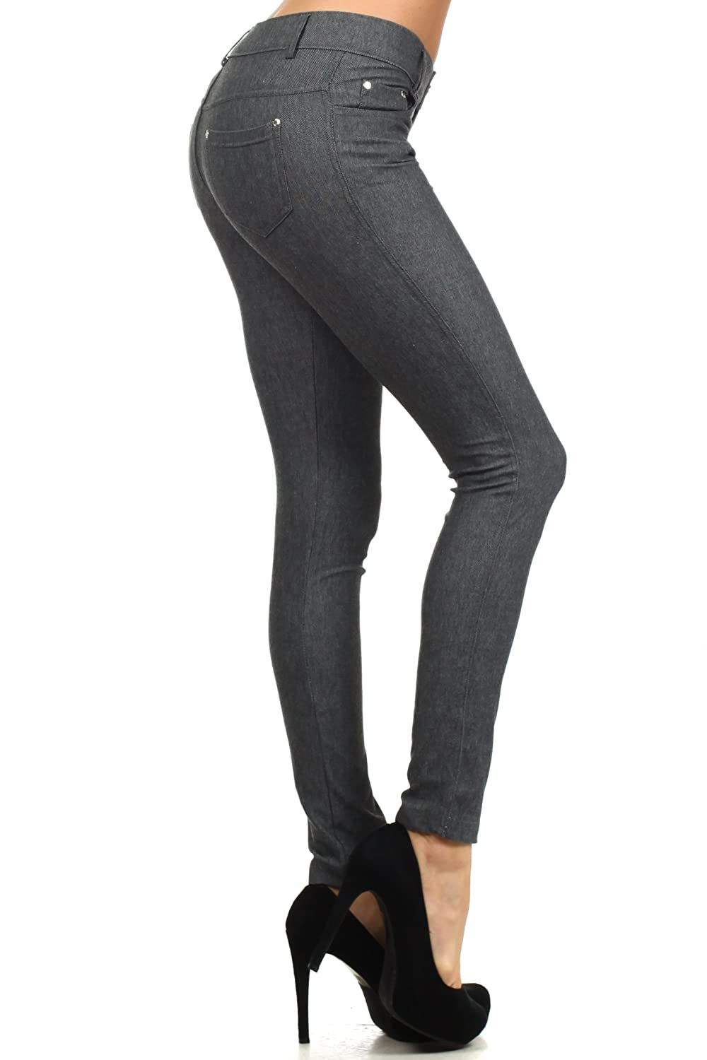 e215303e7d9cd ICONOFLASH Womens Stretch Jeggings - Slimming Cotton Pull On Jean Like  Leggings With Plus Size Options