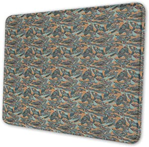 Abstract Wireless Mouse Pad Funky Leaves with Paintbrush Marks Earthy Tones Retro Style Garden Fashion Graphic Mouse Pad For Women Desk Multicolor , 16 x 24 inches
