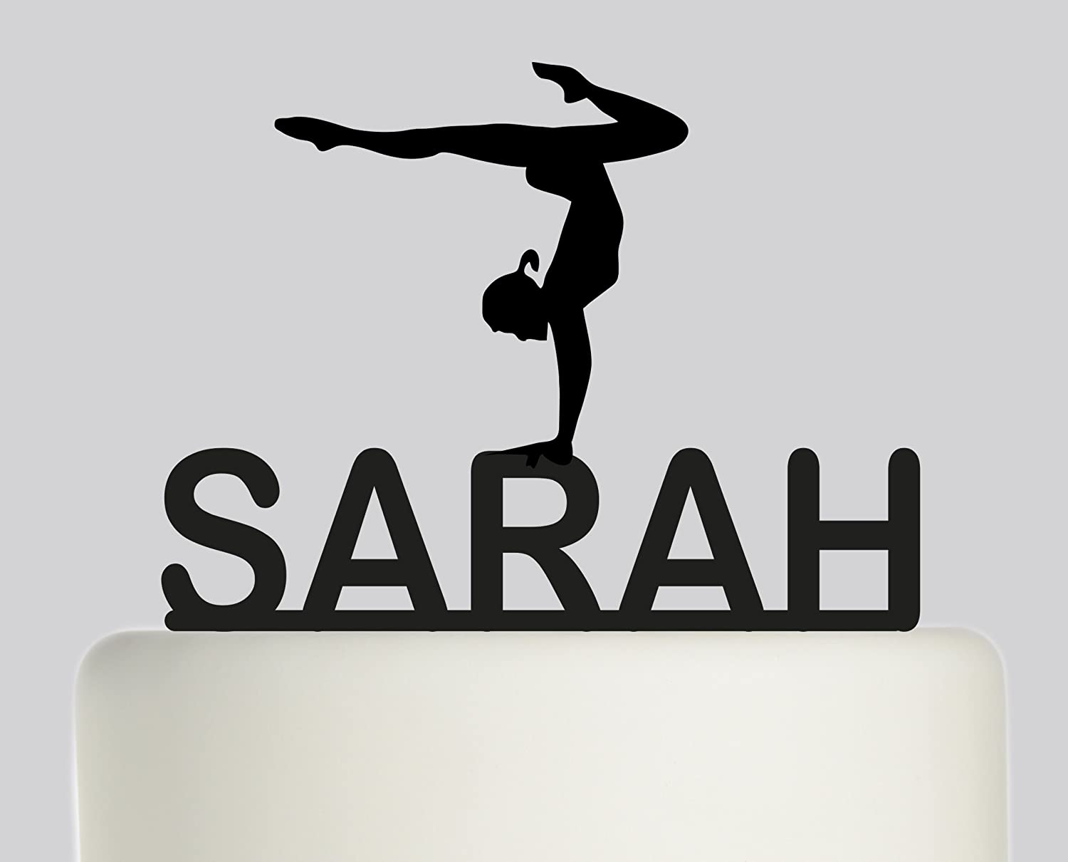 Large Birthday Cake Topper Gymnastics Personalised With YOUR NAME Ideal Decoration Party Acrylic Available In Gold
