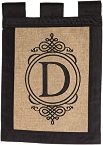 Evergreen Flag 14B2704D Garden Sub Burlap Monogram Flag