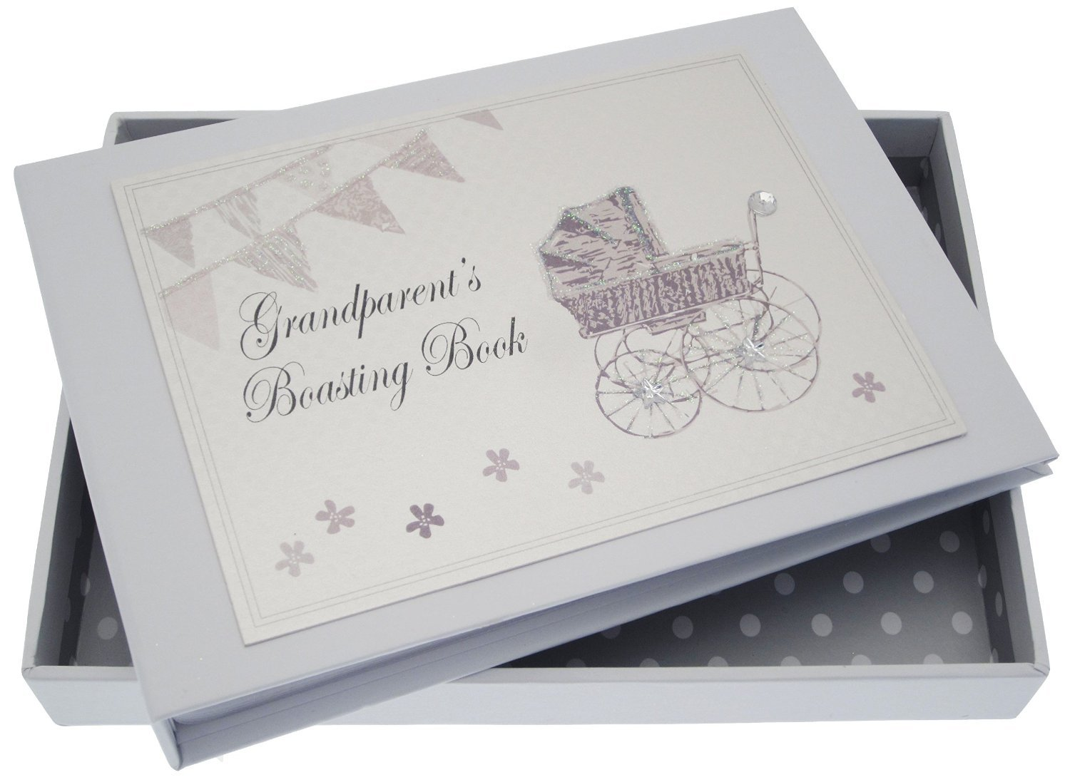 White Cotton Cards Grandparent's Boasting Book Tiny Album (Silver Pram and Bunting) PRS2