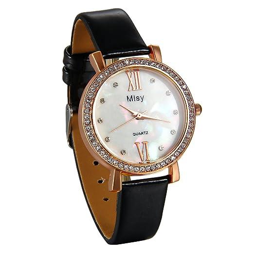 JewelryWe Reloj de Pulsera para Mujer, Retro Vintage Con Diamantes Brillantes Reloj Negro Fino Esfera de Concha Blanca, Elegante Buen Regalo Para Dia Mujer: ...