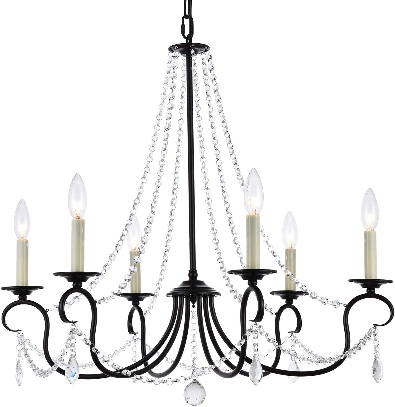 A1a9 Modern 6 Light Candle Style Chandelier With Crystal Accents Simple Classic Traditional Pendant Light Kitchen Island Ceiling Light Fixture For Entryway Hallway Dining Room Foyer Dark Bronze