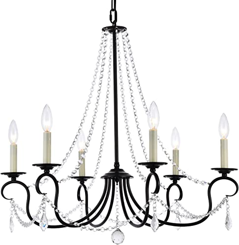 A1A9 Modern 6 Light Candle Style Chandelier with Crystal Accents, Simple Classic Traditional Pendant Light, Kitchen Island Ceiling Light Fixture for Entryway, Hallway, Dining Room Foyer Dark Bronze