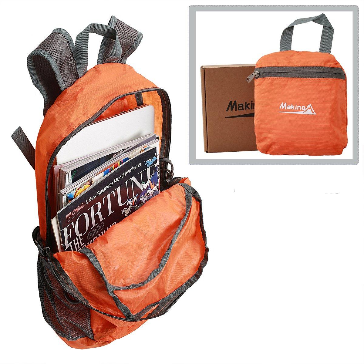 Makino Ultralight Foldable Backpack Hiking Daypack 5504 22 L Orange without Blanket by Makino