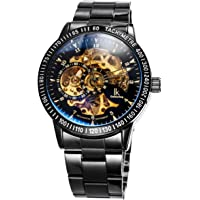 Alienwork IK Automatic Watch for Men Women with Stainless Steel Strap Analogue Skeleton