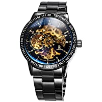IK Skeleton Men's Automatic Watch with Metal Strap Glass Base