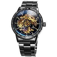 Alienwork IK Skeleton Men's Automatic Watch with Metal Strap Glass Base