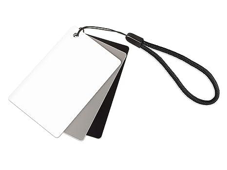 Ares Foto® Tarjeta gris para balance de blancos manual y medición de exposición. Con tarjeta de referencia en blanco y negro. En formato de tarjeta de ...