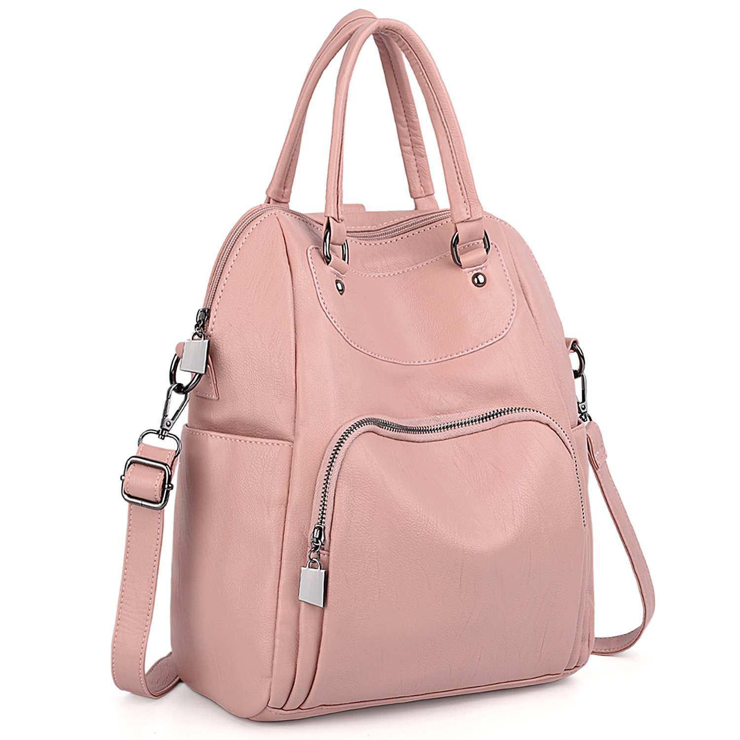 UTO Women Backpack Purse PU Washed Leather Convertible Ladies Rucksack Crossbody Shoulder Bag Pink by UTO