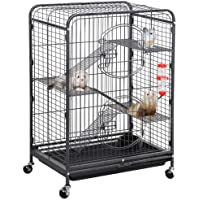 Yaheetech 37/52-inch Metal Ferret Chinchilla Cage Indoor Outdoor Small Animals Hutch with 2 Front Doors/3 Front Doors/Feeder/Wheels for Squirrel Sugar Glider