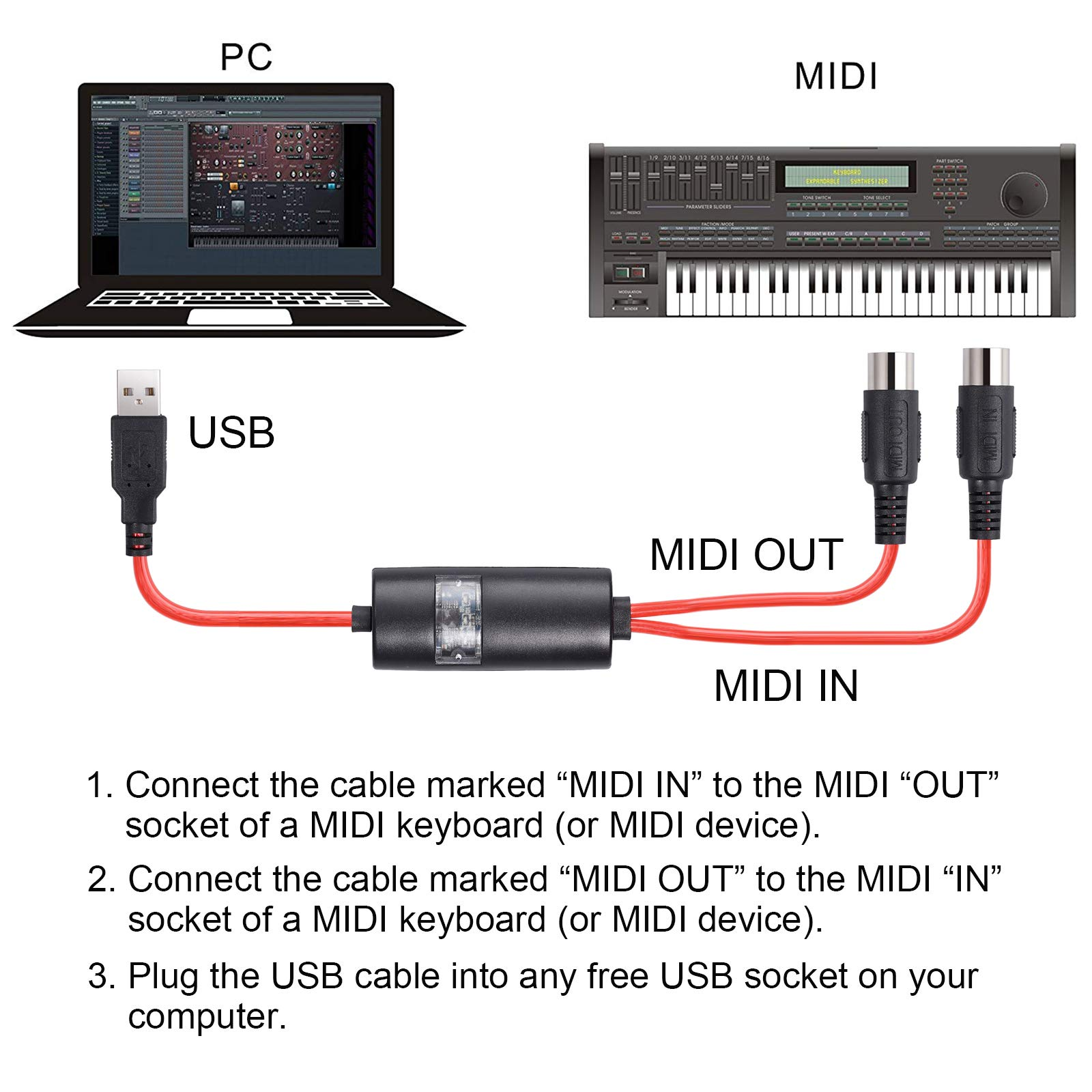 Proster 5 Pin USB to MIDI Interface USB-MIDI Converter Piano USB IN-MIDI OUT Cable MIDI Control for Mac PC Laptop Music Piano keyboard 6.5Ft by Proster (Image #2)