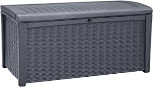 Keter 243549 Borneo 110 Gallon Deck Box, 4.7x4.7x16.3 inch, Grey