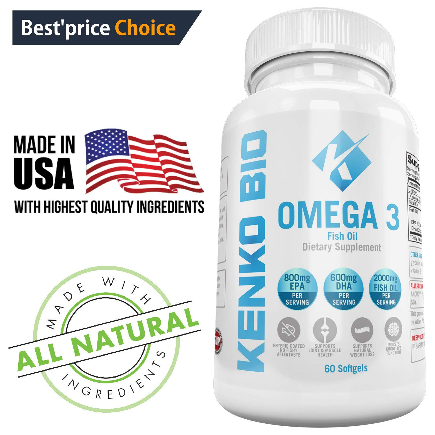 Premium Omega 3 Fish Oil Supplements 2000 mg Serving Softgel Capsules Best Source of Pure 800 mg EPA 600 mg DHA Fatty Acids, No Aftertaste NON-GMO, NSF Certified Kenko Bio