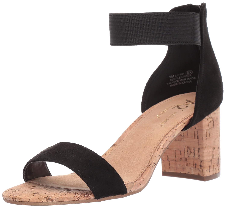 Black Fabric Aerosoles Womens Line Up Heeled Sandal