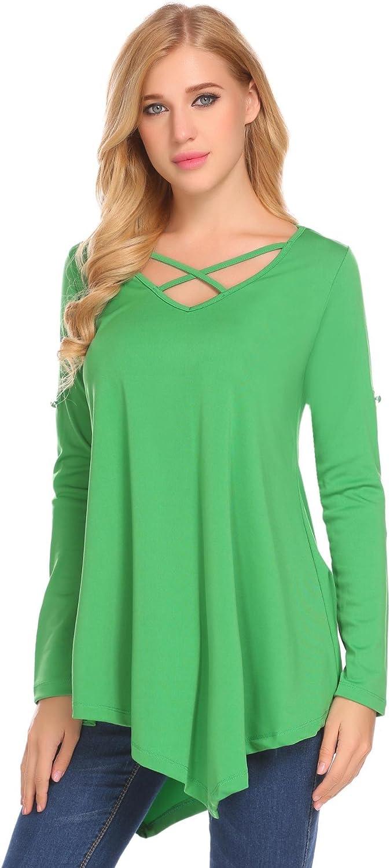 Zeagoo Womens Criss Cross Shirt Loose Pleated Blouse Long Sleeve Asymmetrical Tunic Top
