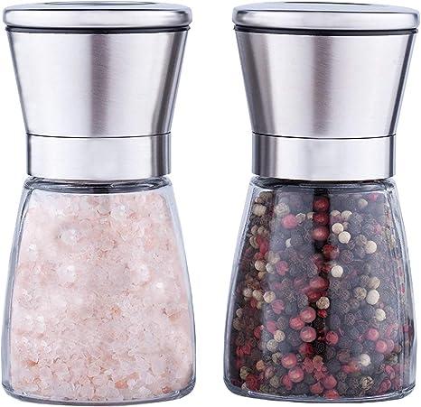 Adjustable Ceramic Sea Salt Grinder /& Pepper Grinder Agun Stainless Steel Salt and Pepper Grinder Set of 2