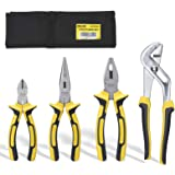 DOWELL Pliers Set 4 Pieces with Storage Pouch 8-Inch Long Nose Pliers 8-Inch Linesman Pliers 6-Inch Diagonal Pliers 10-Inch G