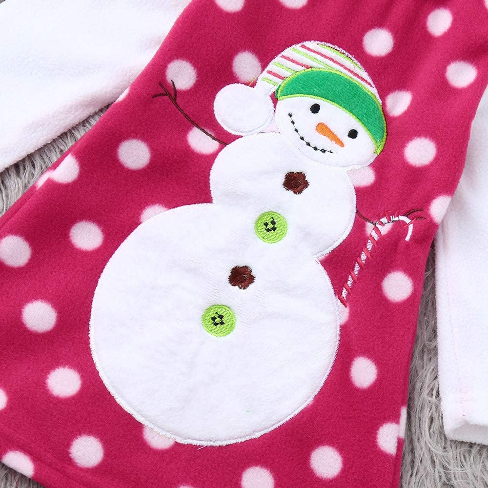 AMSKY Christmas Children Kids Baby Girls Long Sleeves Cartoon Snowman Print Dress Casual Kids Christmas Clothes Outfits