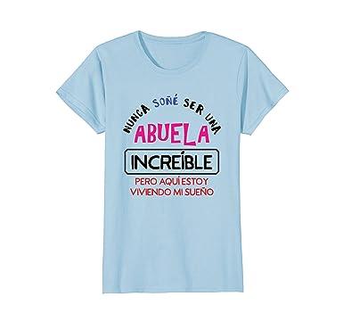 Womens Nunca Sone Ser Una Abuela Increible - Camiseta T-Shirt Small Baby Blue
