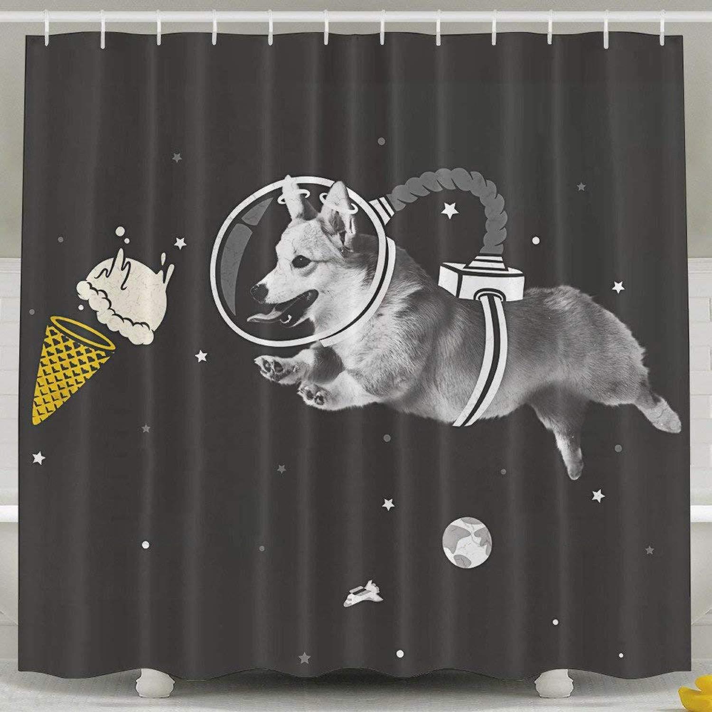LINGJIE Rideau de Douche Corgi Astronauts Humor 60 X 72 inch Bath Curtain Waterproof Polyester Fabric Bathroom Shower Curtain Decor Set with Hook