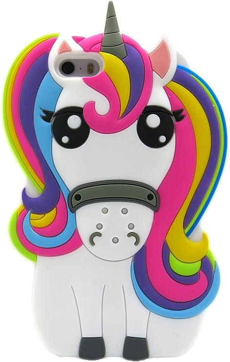 Iphone 5 5S Case Unicorn, Iphone SE Case Unicorn, Girls Cartoon Silicone Rubber Unicorn Phone Cases for Iphone 5 5S 5SE 360 Degree Protective ...