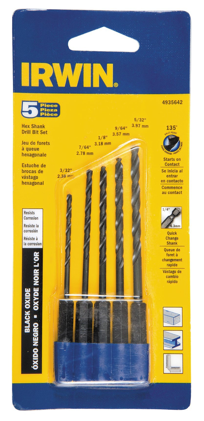 Irwin 4935642 Black Oxide Hex Shank Drill Bit Set 5 Count by American Tool Exchange (Image #1)