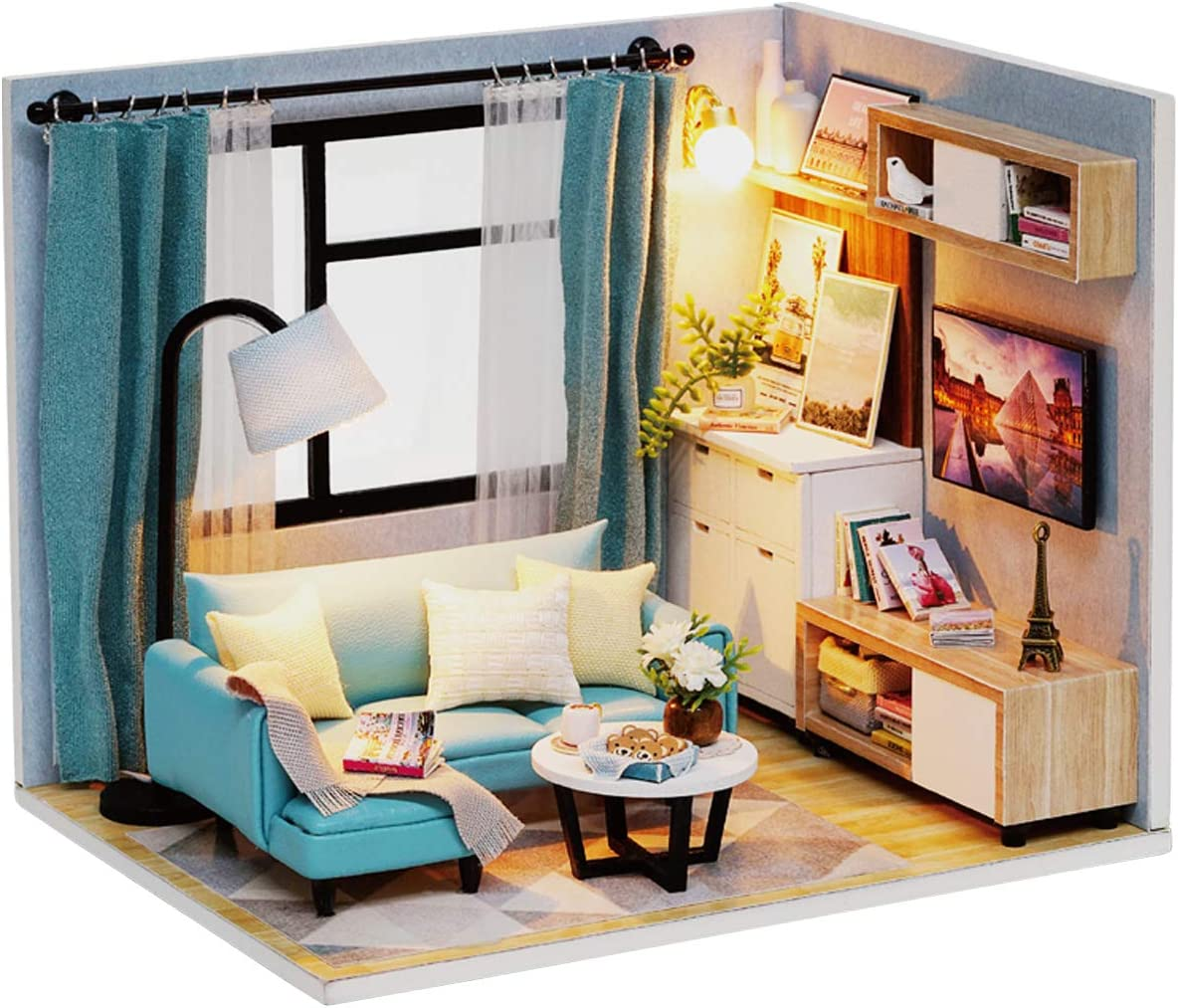 Ogrmar 1:24 Scale Dollhouse Miniature with Furniture, DIY Dollhouse Kit Plus Dust Proof & LED Light, Creative Room Toys for Children Gift (Corner of Living Room)