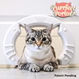 Purrfect Portal XL Pet Cat Door for Interior Doors :: Molded Plastic Kitty Cat Pass for Large Cats up to 30 Lbs :: Installs in Minutes, Stays on Securely, Easy to Follow Instructions + Hardware, White