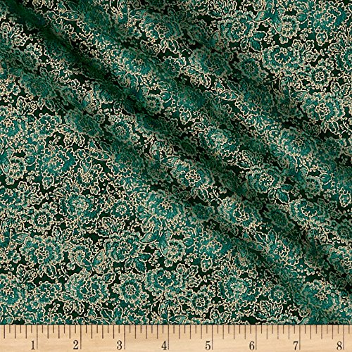 - Oasis Fabrics Asian Garden Tonal Floral Metallic Teal Fabric by The Yard,