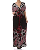 Sakkas Paisley V-Neck Cap Sleeve Empire Waist Long / Maxi Dress