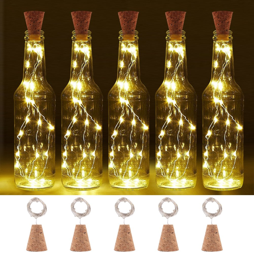 LOGUIDE Warm White Wine Bottle Lights Natural Cork Base, 6.56ft/20 LED Cork Lights 2 Hours Timer DIY Shape Copper Wire Light Fairy Starry String Lights - Dinner Table,Party,Wedding Decor(6 PCS)