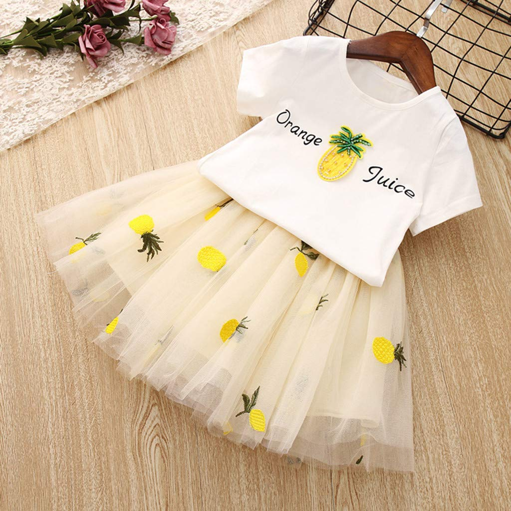 Baby Girls Dress 2pcs Set, Toddler Short Sleeve Tops T-Shirt+Pineapple Tutu Skirt Outfits Clothes (3-4 Years, Yellow) by Hopwin Baby girls Suits (Image #2)