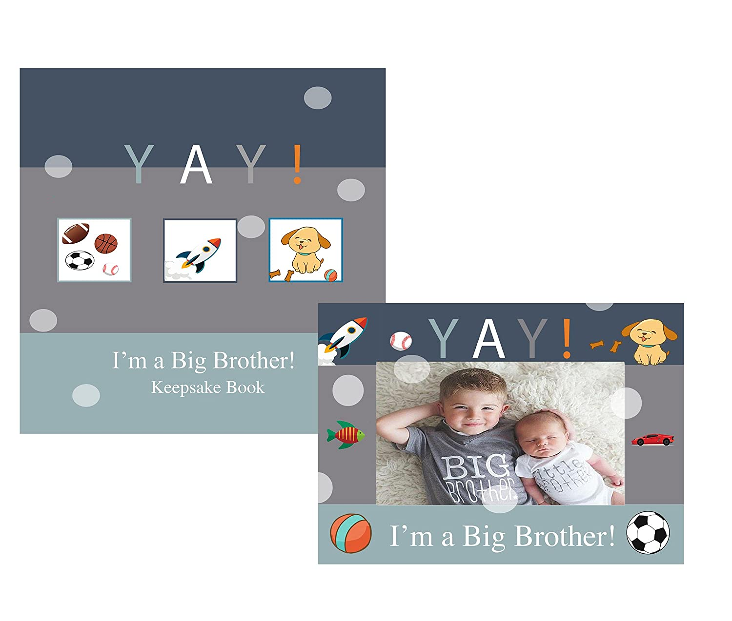 YAY Im A Big Brother, Sibling Keepsake Memory Book and Picture Photo Frame Gift Set for Kids, (Big Brother) Beloved Baby