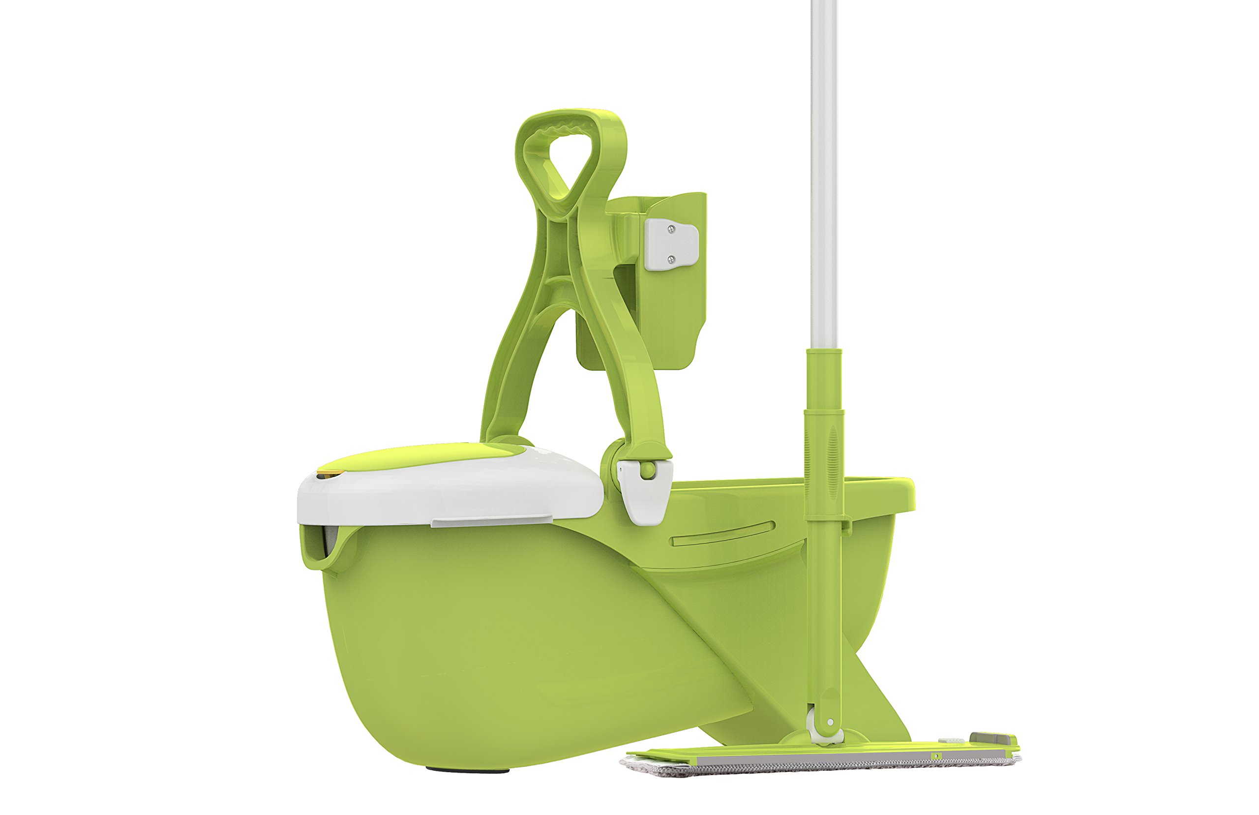 Mee'life Indoor Removable Mop and Bucket Green Deluxe Cleaning System Household Convenient Save Labour Humanized, Mopping Tool Set Extra 2 Mop Replacement Cloth,1Scraper and 1 Brush