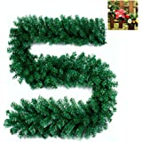 270cm Christmas Garlands Decorations Green Artificial Fireplace Stair Xmas Tree Garden Yard Decors 9ft (1Pack)