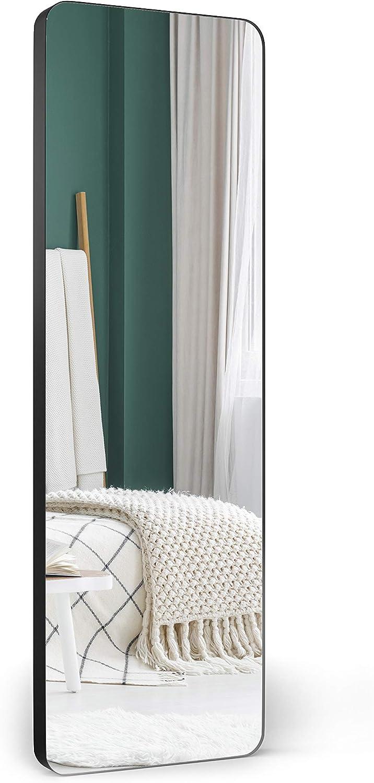 "Upland Oaks Large Full Length Body Mirror for Floor & Wall in Bedroom - Metal Frame - Big & Tall Long Mirror for Leaning - Full Length Wall Mirror Size 65"" x 21"" (Black, Slim Lip)"