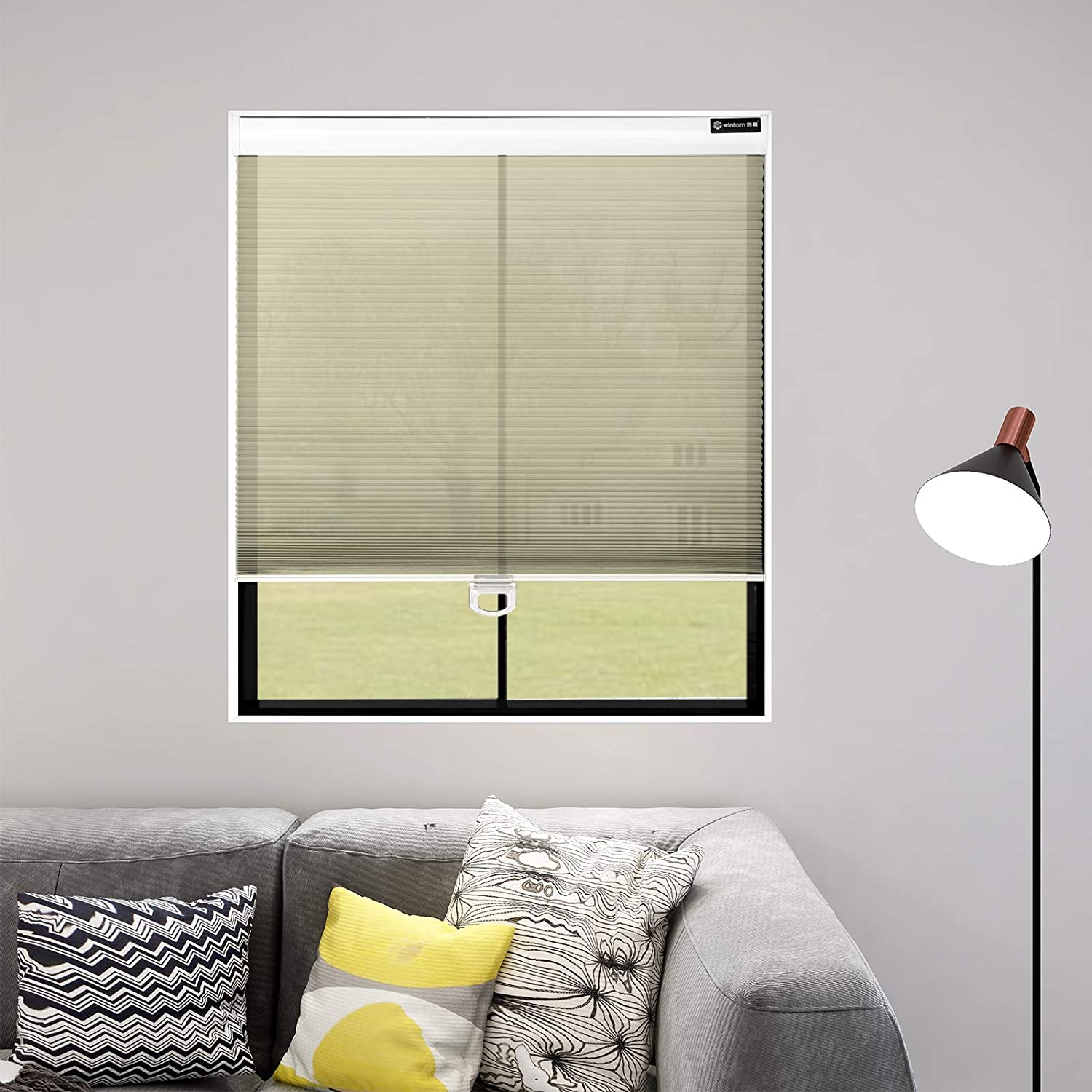 Didoya Light Filter Honeycomb Venetian Blinds,40W x 130H Custom Cut to Size Free-Stop Light Filtering Window Blind for Thermal Noise Reduction for Kitchen Living Room,Office