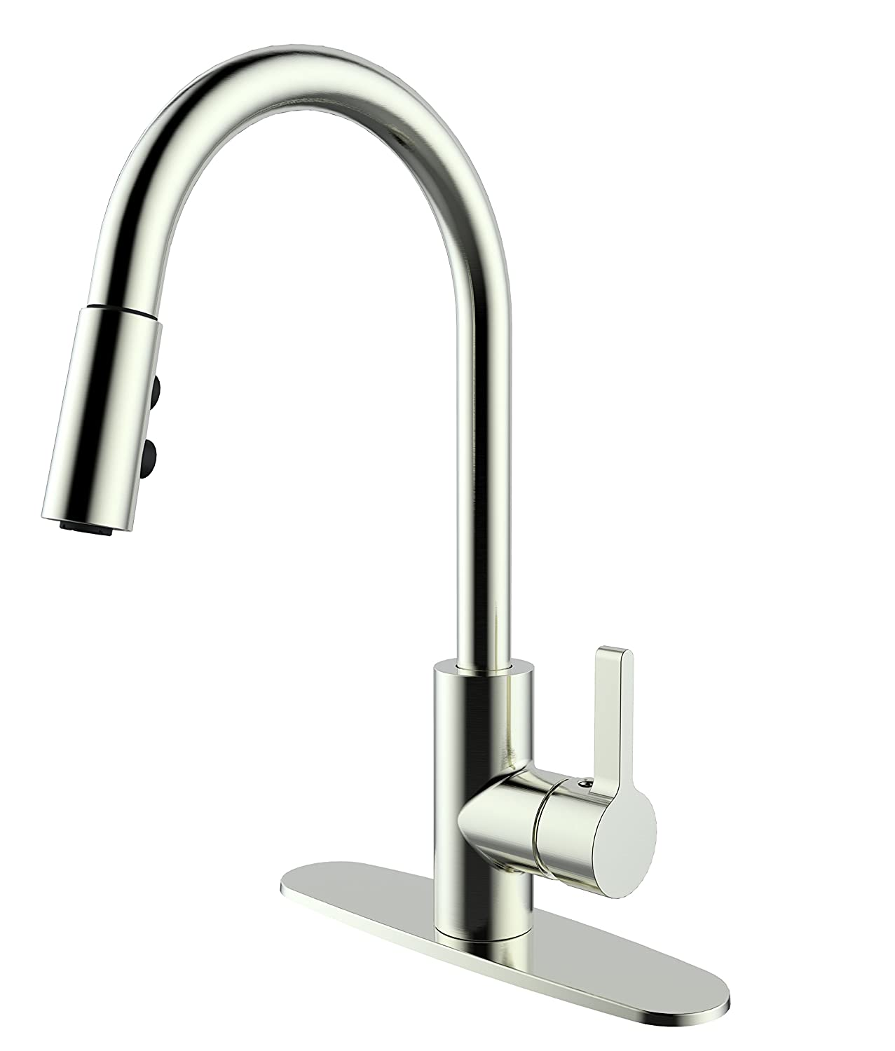 Commercial Kitchen Faucet with Deck Plate - Stainless Steel Kitchen Sink Faucet Single Handle High Arc Brushed Nickel Faucet with Pull out Sprayer