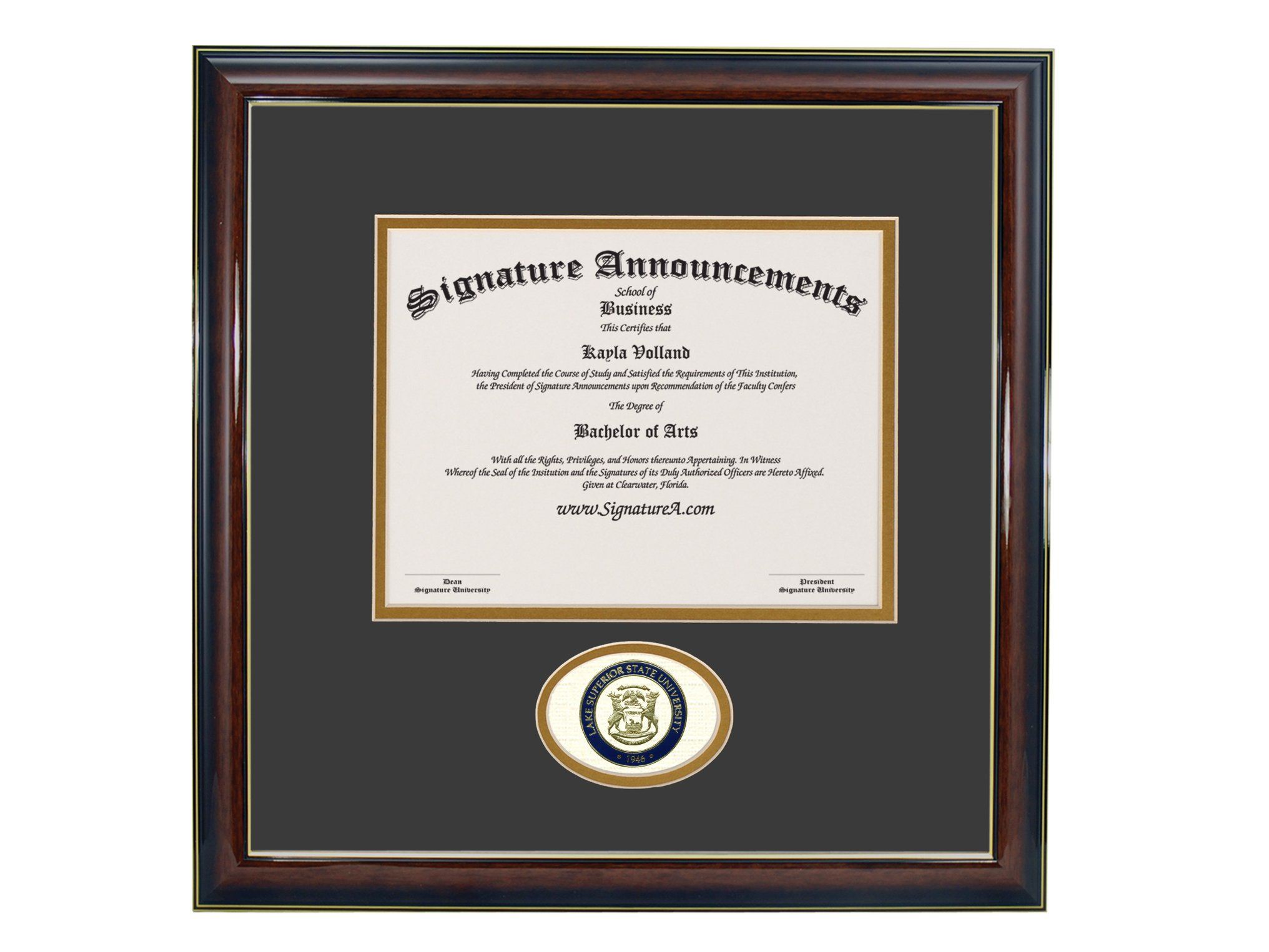 Signature Announcements Lake Superior State University Undergraduate, Graduate Sculpted Foil Seal Diploma Frame, 16'' x 16'', Gloss Mahogany with Gold Accent