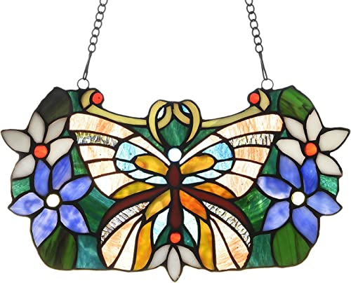Capulina Stained Glass Panels Beautiful Butterfly with Flowers Tiffany Window Panel Stained Glass Birds Stained Glass Window Panels Art Panels with Chain