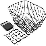 Hoobbii Rear Bike Basket, Waterproof Metal Wire Bicycle Basket with Adjustable Cargo Net and Waterproof Rainproof Cover Fits