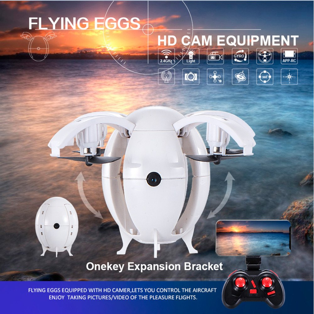 Mini RC Ball Drone Quadcopter Toys - 2.4G WIFI 0.3MP Camera FPV Pocket Drone with Headless Mode,One Key Return/Taking Off,Gbell Christmas Birthday UAV Toys Gifts for Adults Boys Kids Girls 14+ (White) by Gbell (Image #2)
