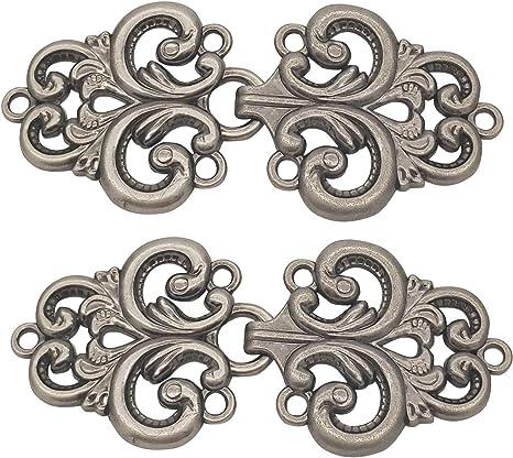 Sew On Hooks and Eyes Cardigan Clip Gold ZHU YU CHUN 6 Pairs Swirl Flower Cape or Cloak Clasp Fasteners
