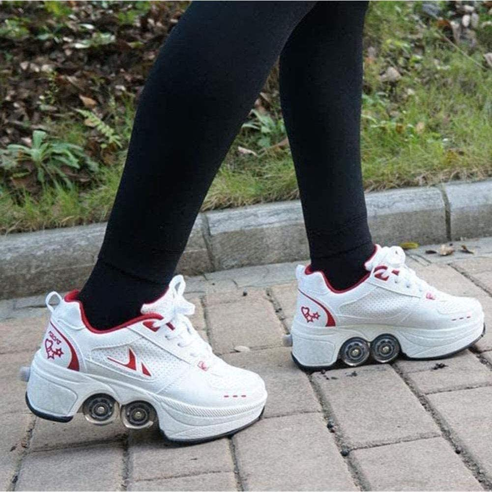 Double-Row Deform Wheel Deformation Automatic Walking Shoes Invisible Roller Skate 2 in 1 Removable Pulley Skates Skating