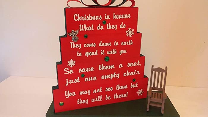 christmas in heaven save them a seat one empty chair christmas red with