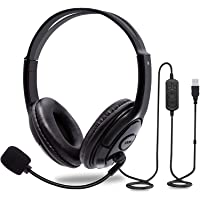 DAISEN USB Computer Headset with Microphone, Comfort-fit Office Computer Headphone with On-Line Volume Control, Over-The-Head Headset for Webinar Laptop Call Center Students Online Study (USB Jack)