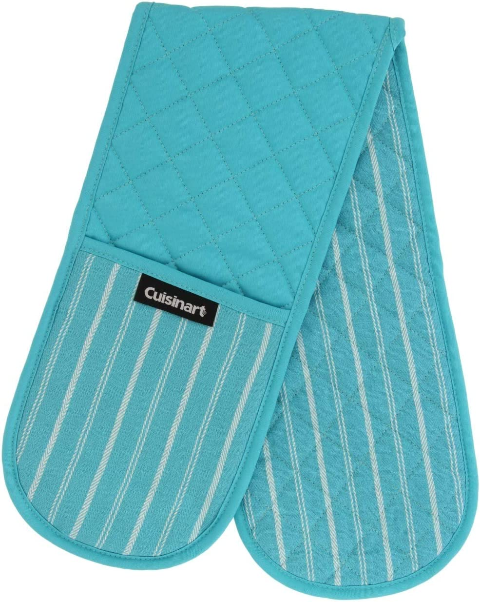 Cuisinart Quilted Double Oven Mitt, Twill Stripe, 7.5 x 35 inches - Heat Resistant Oven Gloves to Protect Hands and Arms - Great Set for Cooking, Baking, and Handling Hot Pots and Pans- Blue Curacao