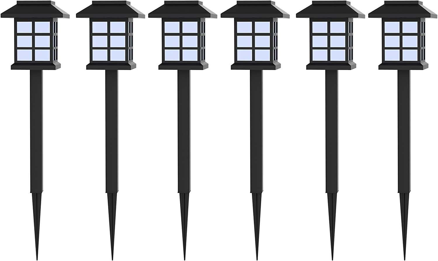 Solar Powered Lights (Set of 6)- LED Outdoor Stake Spotlight Fixture for Gardens, Pathways, and Patios by Pure Garden