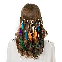 Bohémien Paon Hippie Bandeaux Plume - Femmes Filles Flocage Perles Tisser Bandeaux Indien Originaire de Corde à Cheveux Headpiece